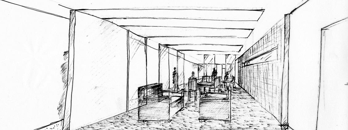Innenarchitektur und Umbau Skizze